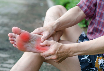 Male foot pain, Man's problem concept