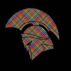 Spartan warrior helmet designed using colorful pixels graphic vector.