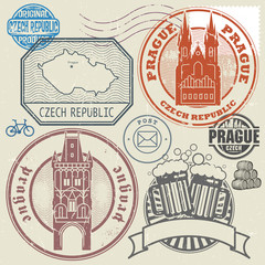 Grunge rubber stamp set with text and map of Czech Republic