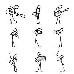 Cartoon icons set of sketch stick musician figures in cute miniature scenes.