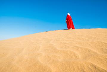 Arab person on the desert dune, desert dunes, beduin on dune, re