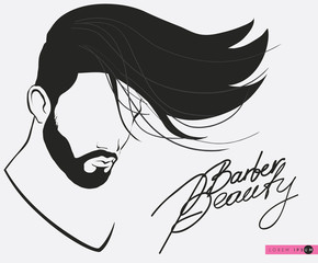 Barbershop beard Mustache Hairstyle.Hipster barbershop european man with beards moustaches and stylish haircut,silhouette of a man s face in profile, lettering. banner,poster for salon,isolated vector