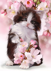 Kitten watercolor painting