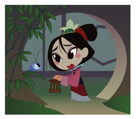 The girl warrior, chinese, ancient history, Mulan, cartoon