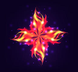 Vector illustration of a flower with a realistic fire with sparks for your creativity