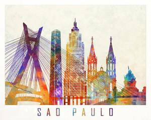 Fototapete - Sao Paulo landmarks watercolor poster