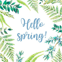 Hello spring! Watercolor floral frame. Hand drawn plants card design: botanical elements isolated on white background. Branches, fern, berries and leaves border