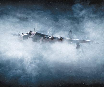 World War II and airplane bombing in flight