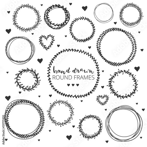 Set of hand drawn round frames. Ink illustration. Herbal frames ...