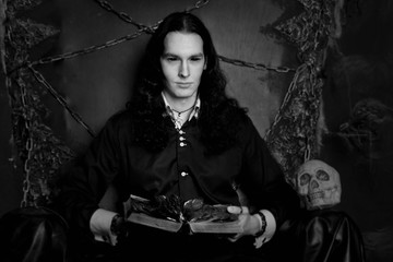 handsome beautiful long hair sexual gothic vampire