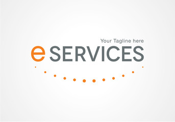 Creative logo design, letter e-services. dotted smile, happiness vector icon. Trendy business elements.