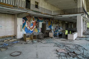 Chernobyl area, lost city Pripyat, modern ruins, Fresco in theatre, Ukraine