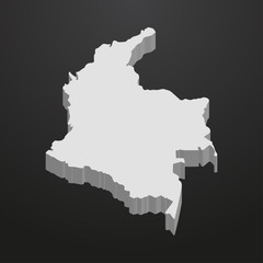 Columbia map in gray on a black background 3d