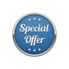 Silver blue special offer round badge