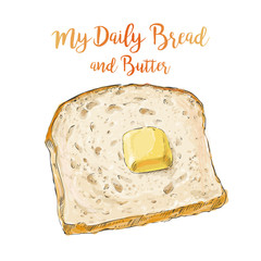 vector bread with butter