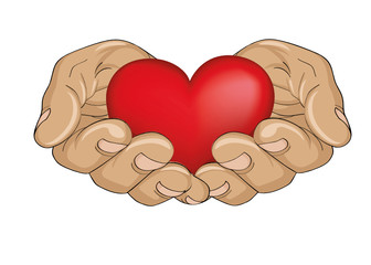 Red heart in the hands. Palms open. Hand gives or receives.
