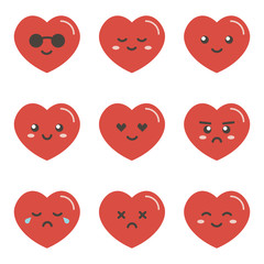 Set, collection of flat design emoji red hearts isolated on white background.