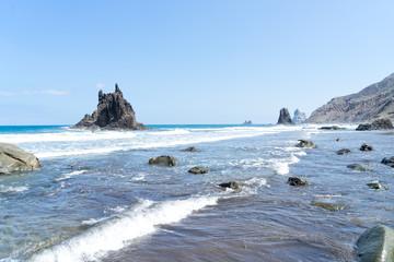 view of wild beach playa Benijo, Tenerife island, Spain