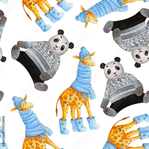 cute cartoon seamless pattern with watercolor giraffe in a blue knitted scarf boots with the. Black Bedroom Furniture Sets. Home Design Ideas
