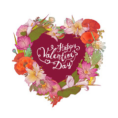 Happy Valentine's Day congratulation card with heart of flowers