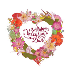 Happy Valentine's Day vector congratulation card with heart of f