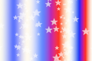 Red White and Blue stars and stripes American Patriotic background abstract blurred with bokeh stars