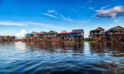 The floating village on the water komprongpok of Tonle Sap lak