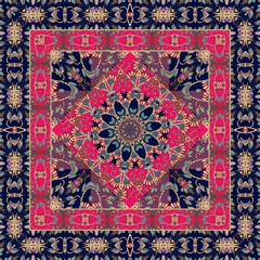Square indian rug with flower - mandala and ornamental border. Shawl, tablecloth.