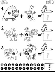 addition activity coloring page