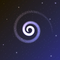 Spiral glow. The glow on the blue background. Space illustration. Space background. Shine Stars.