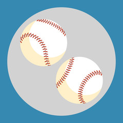Baseball ball icon. Two white balls on a blue background. Sports Equipment. Vector Illustration.