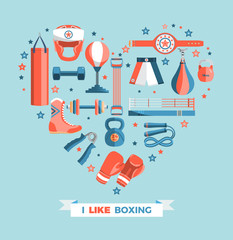Set of boxing equipment vector colorful design elements isolated on blue background. Vector Illustration