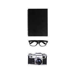desktop notebook, glasses and pen. top view, flat lay