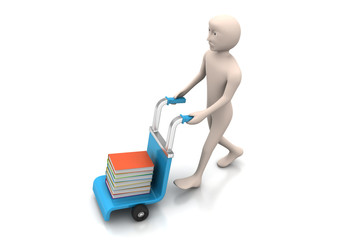man with trolley for delivering books