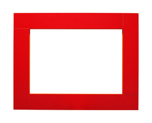 Red frame for photos. Isolated