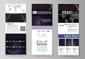 Roll up banner stands, corporate vertical vector flyers, flag layouts. Abstract polygonal background with hexagons, illusion of depth and perspective. Black color geometric design, hexagonal geometry.