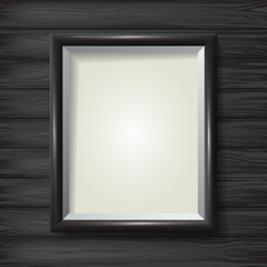 Picture Frame on a wooden background. Vector template for your presentations.