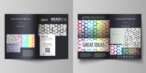 Business templates for bi fold brochure, flyer, booklet or report. Cover design template, vector layout in A4 size. Chemistry pattern, hexagonal molecule structure. Medicine, science concept.