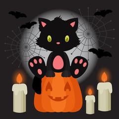 Halloween illustration with black kitten sitting on the pumpkin