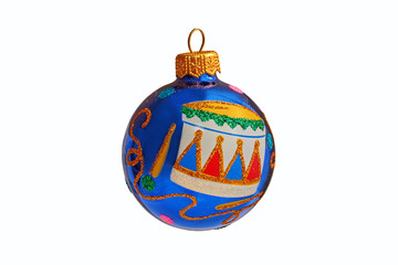 blue Christmas ball with pattern drum