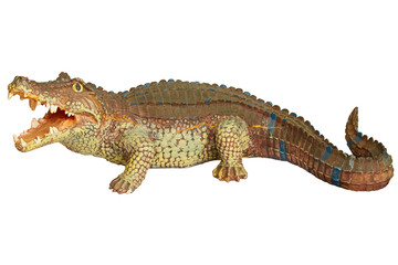 figurine crocodile isolated white background