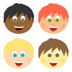Boys set children's faces with different hair color and eyes with a big smile with an open mouth with tongue and white teeth. Combed child with ears.Heads of different skin color