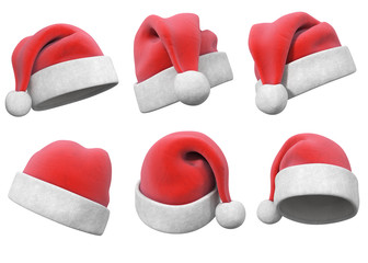 set hats of Santa Claus 3d illustration