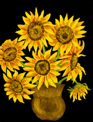 Sunflowers on black, painting