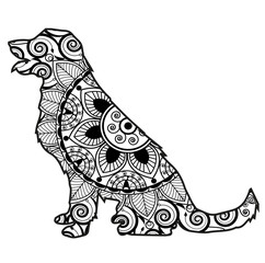 Vector Illustration Of A Dog Mandala For Coloring Book Cane Mandala