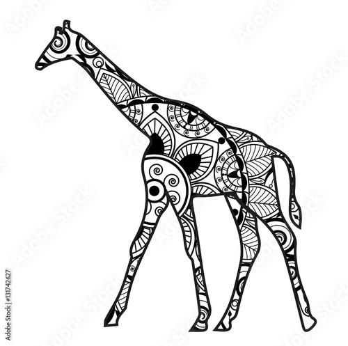 Vector illustration of a giraffe mandala for coloring for Giraffe mandala coloring pages