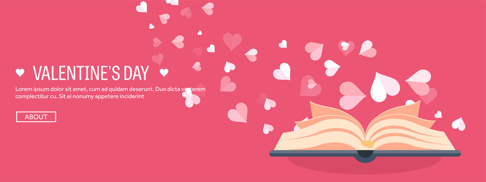 Vector illustration. Flat background with book. Love, hearts. Valentines day. Be my valentine. 14 february.