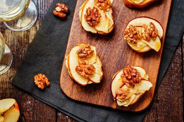 Apple Brie maple syrup walnut crostini