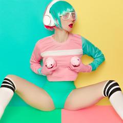 Minimal fashion Pop Art. Vanilla color. Girl DJ. Doll style. fit