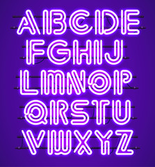 Glowing purple Neon Alphabet with letters from A to Z. Shining and glowing neon effect. Every letter is separate unit with wires, tubes, brackets and holders.